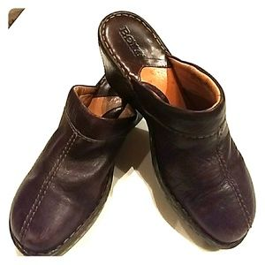 Leather clogs brown, Born, sz.7, womens shoes